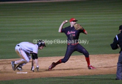 Evan Potter finishes the double play.