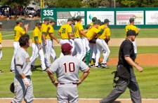 Sacramento State celebrates while ASU looks on.