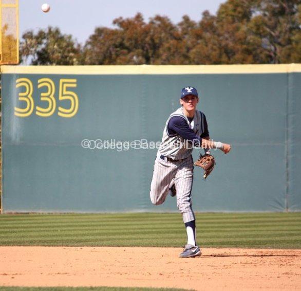 Tanner Chauncey throws across the diamond.