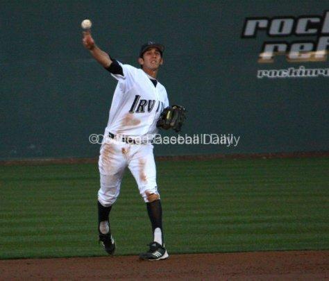 Tommy Reyes throws after making a backhand stop.
