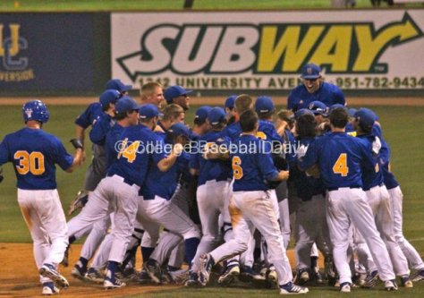 UC Riverside celebrates its walk-off hit.