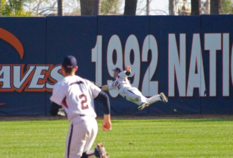 Aaron Brown makes a full extension dive.