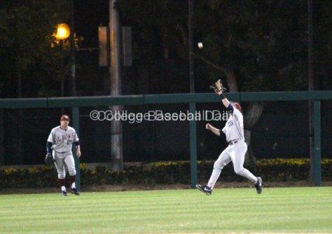 Matt Lowenstein catches a fly in centerfield.