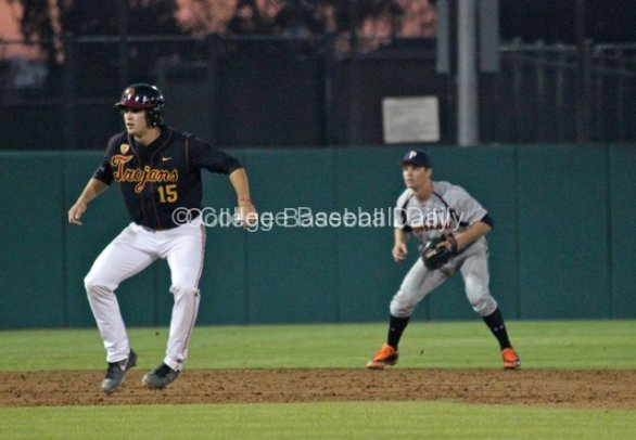 James Roberts leads off second base.
