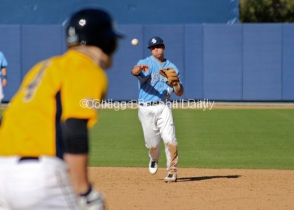 Austin Bailey throws to first.