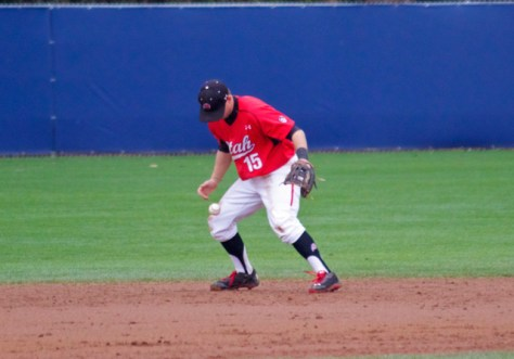 Cory Hunt fumbles a grounder.
