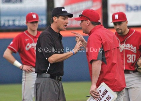 Washington State head coach Donnie Marbut displays  his disdain for a call.