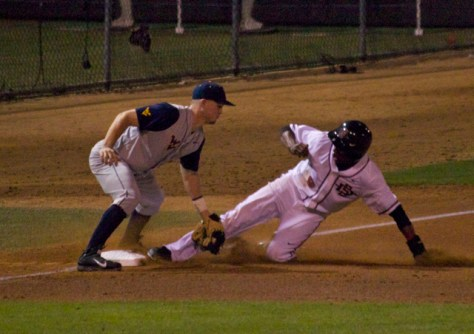 Greg Allen is thrown out at third.