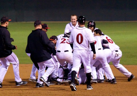 San Diego State celebrates the walk-off win.