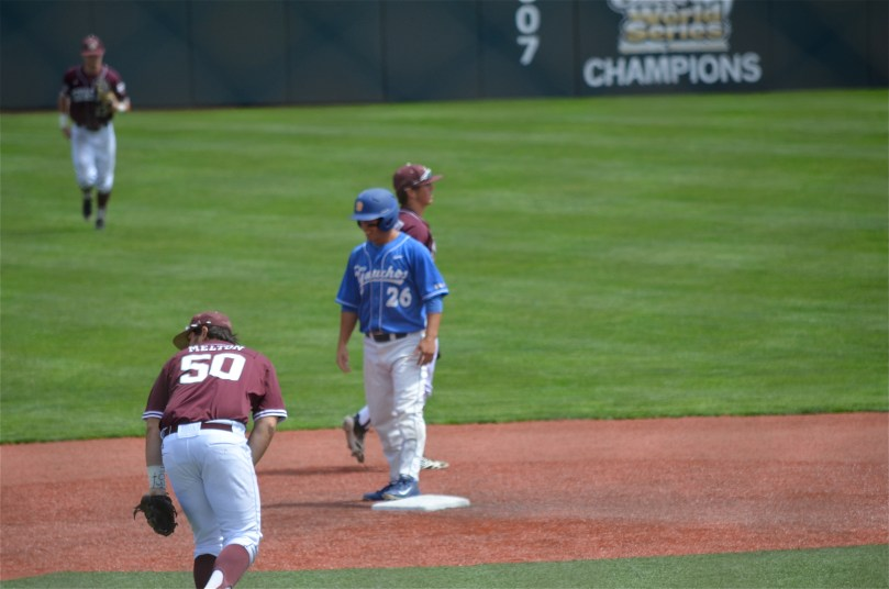 UCSB's Luke Swenson is dejected after being called out at second to end the game, and the Gauchos' season, in a 5-4 loss to Texas A&M. (photo by Aaron Yost)