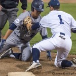 Keston Hiura is tagged out by Jerod Smith trying to advance to 3rd after Alcantara knocks the ball free at the plate. Photo by David Cohen, BHEphotos