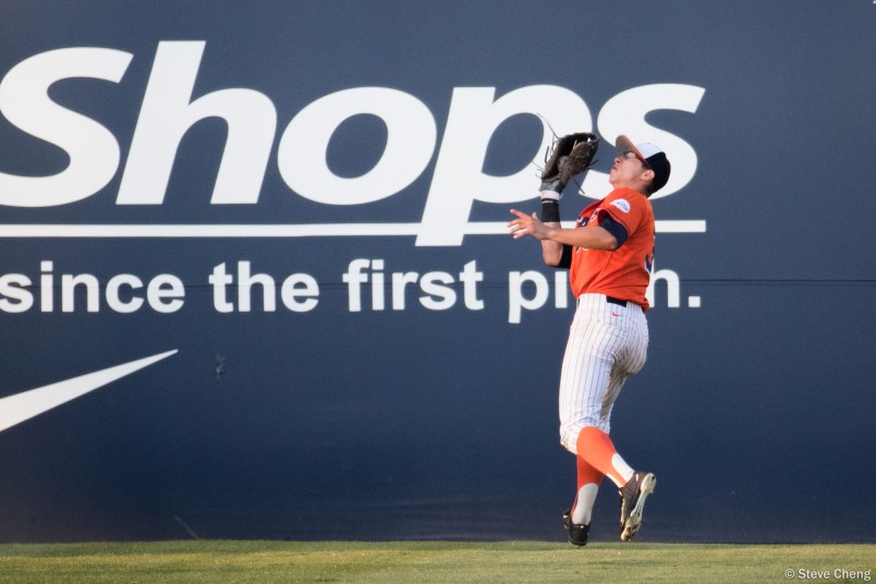 Hunter Cullen tracks down a deep fly ball in right field. CSUF defeated UCSB 8-4, Fullerton, CA, May 12, 2017.