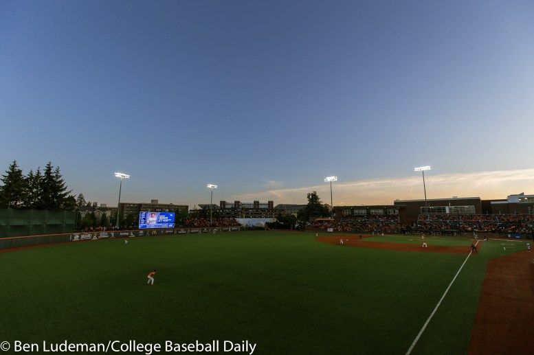 Corvallis, OR - JUNE 4: Goss Stadium during an 8-1 Oregon State Beavers victory over the Yale Bulldogs in an NCAA Championship Regional Playoff game on June 4, 2017 at Goss Stadium on the campus of Oregon State University in Corvallis, OR (Photo by Ben Ludeman)