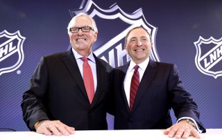 LAS VEGAS, NV - JUNE 22:  New Las Vegas NHL franchise owner Bill Foley and commissioner Gary Bettman of the National Hockey League pose for a photo during the Board of Governors Press Conference prior to the 2016 NHL Awards (Photo by Bruce Bennett/Getty Images)