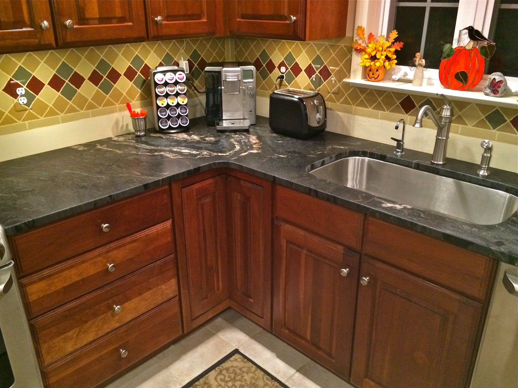 natural stone kitchens colonial kitchen sink Titanium Black Leathered w Eased Edge