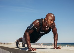 Black man push-ups