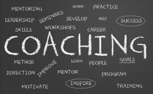 Coaching on chalkboard