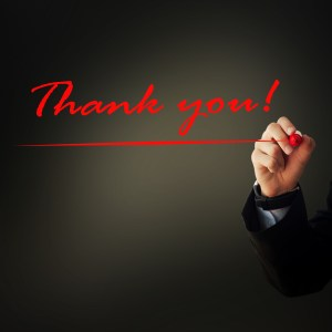 Thanks you written red
