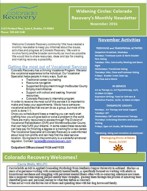 Colorado Recovery - Unique Treatment for Serious Mental Illness