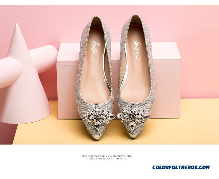 Cheap Autumn New Women Shoes Rhinestones Gold Silver