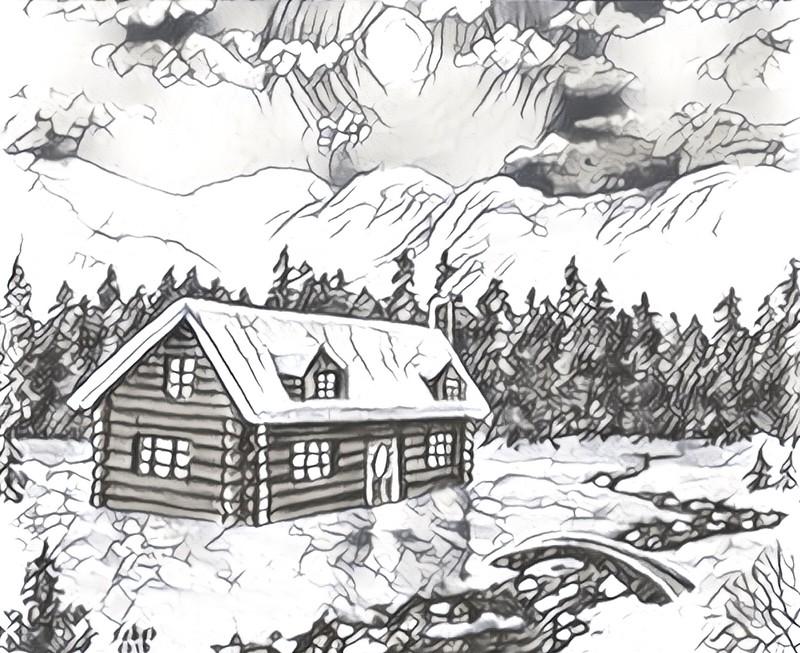 Disegno Da Colorar Antistress Montagna Chalet Nella Neve 4