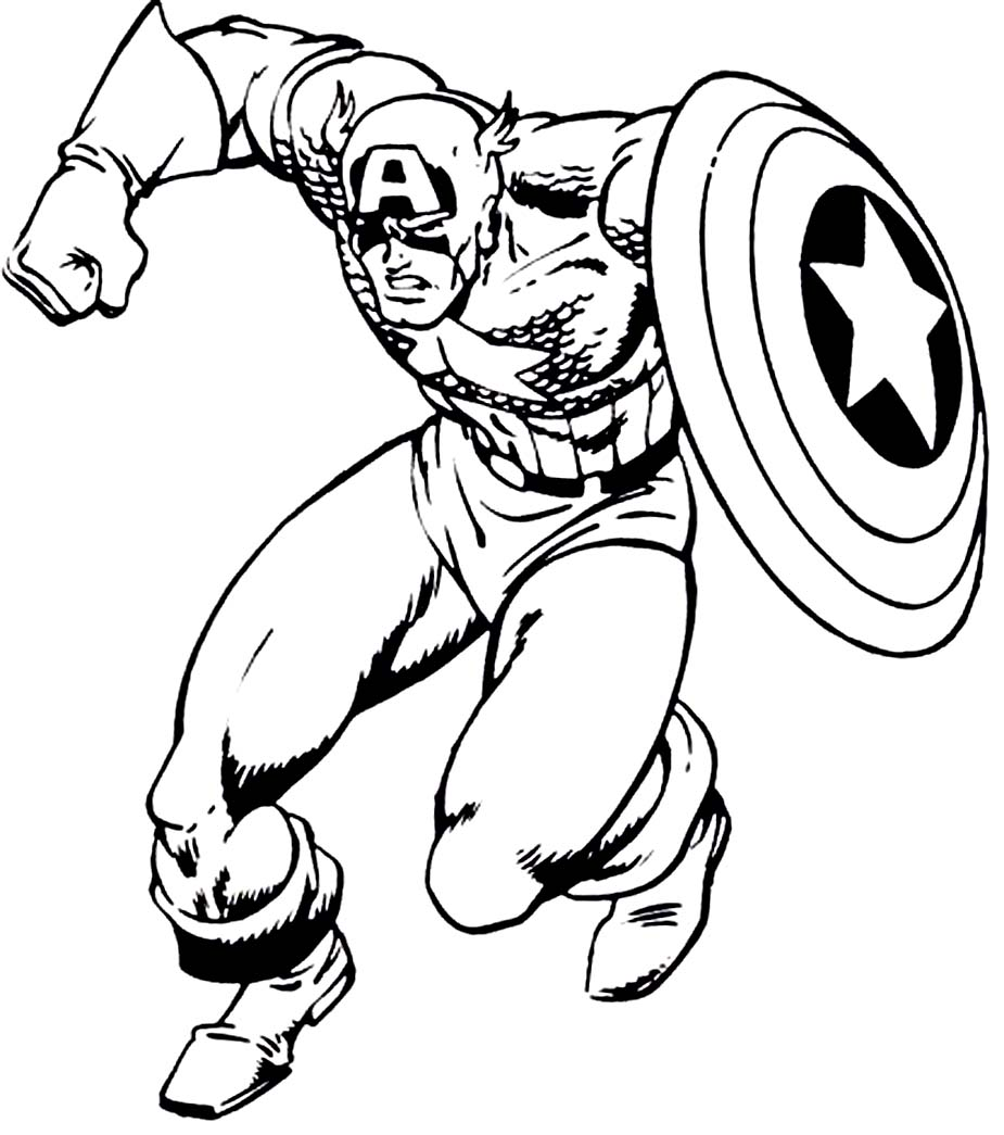 Free printable captain america coloring pages