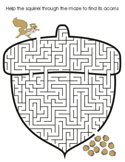 Acorn Printable Maze coloring page  book for kids