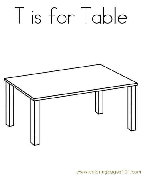 Table Printable Coloring Page For Kids And Adults