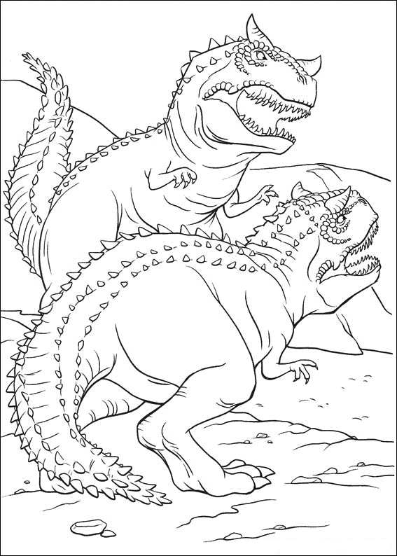 Dinosaur fighting coloring page - coloring dinosaur