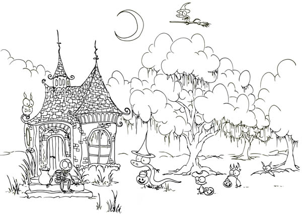 House Build Before Creepy Forest Coloring Page  Coloring Sky