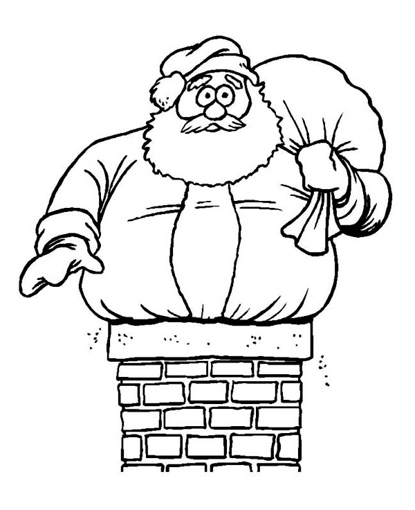 Fat Santa Claus in Trouble on Christmas Coloring Page Coloring Sky - best of santa coloring pages to print free