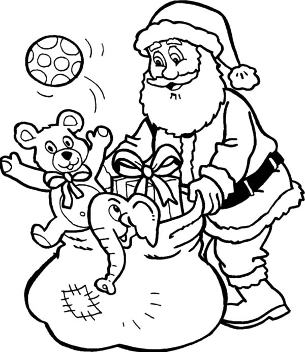 Santa Claus Checking Bag Full Of Goodies Coloring Pages  Coloring Sky