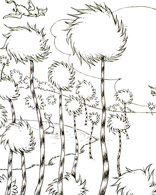 The Lorax Truffula Tree Forest Coloring Pages  Coloring Sun