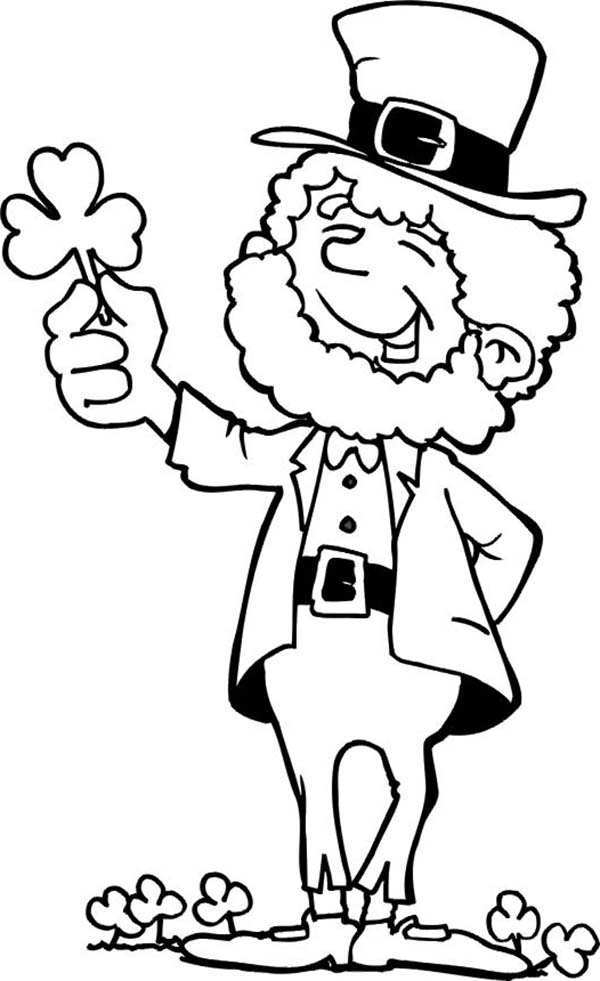This Leprechaun Holding a Shamrock on St Patricks Day Coloring Page - shamrock color pages