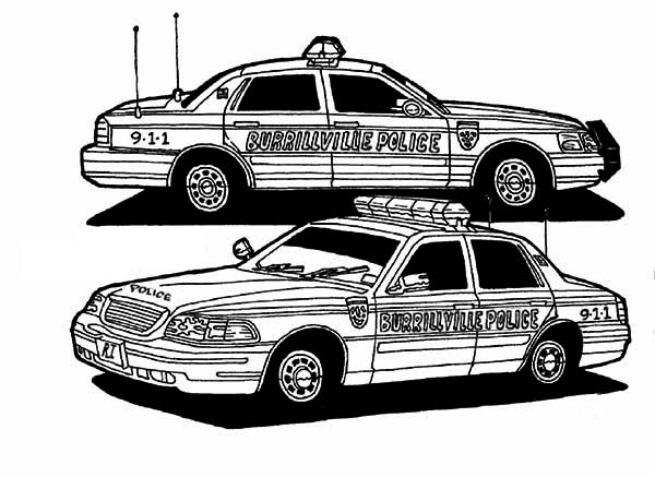 police car coloring page color download