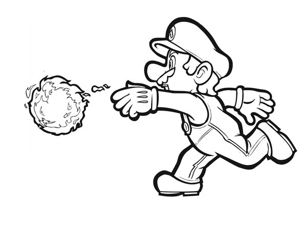 Mario Awesome Weapon Fire Ball in Mario Brothers Coloring Page - mario coloring pages