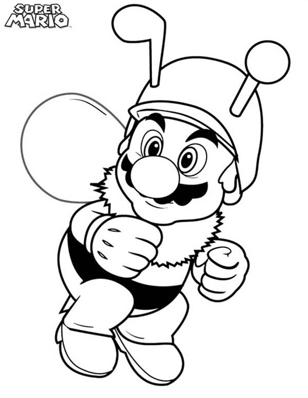 Super Mario Brothers Wearing Bee Costume Coloring Page Color Luna - mario coloring pages