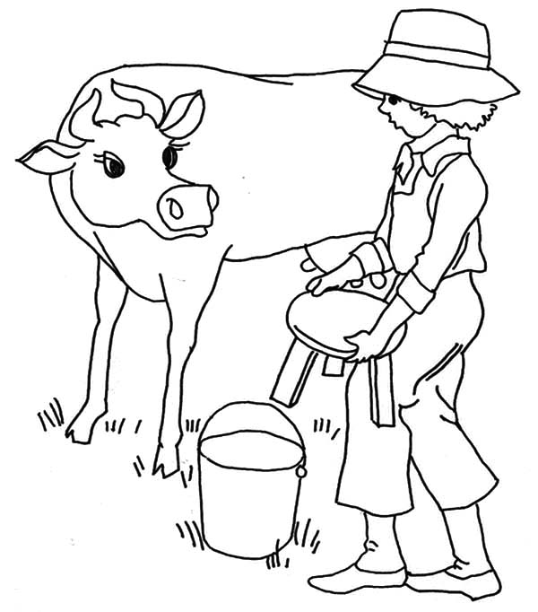 milking cow coloring milk page