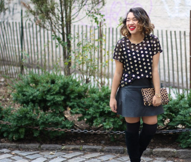 Sequin Shirt Sequin top Polka dot sequin polka dot sequin top polka dot sequin blouse sequin polka dot blouse leopard clutch black leather skirt leopard clutch clare v clutch black leopard clare v clutch fashion blogger black fashion blogger color me courtney fashion blogger