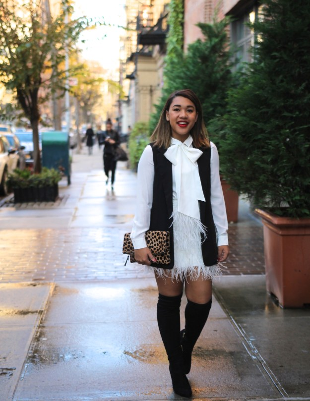 bow blouse bow tie blouse tie neck blouse bow neck blouse kate spade bow blouse feather skirt feather mini skirt white feather skirt feathered skirt fringe skirt holiday outfit holiday style holiday outfit inspiration what to wear for the holidays holiday ootd color me courtney colormecourtney courtney quinn colormecourtney.com @colormecourtney