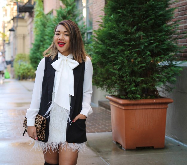 Holiday Style - White Feather Skirt / Bow Blouse / Leopard Clutch / Over the Knee Boots