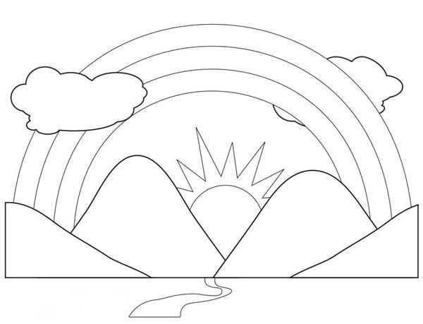 A Scenic View of Rainbow Behind the Mountains Coloring Page - best of coloring pages of rainbows to print