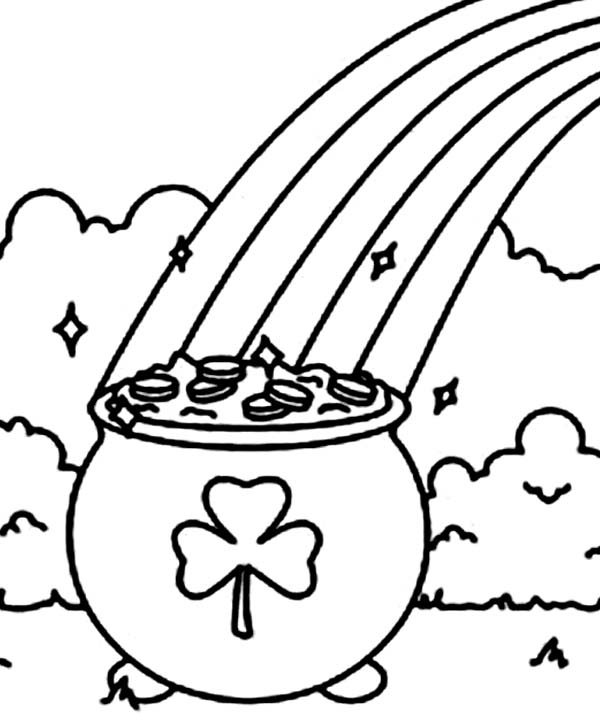 A Pot of Gold with a Shamrock Symbol Coloring Page - Download - shamrock color pages