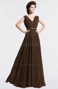 Chocolate Brown Vintage A-line Sleeveless Chiffon Floor ...
