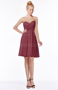 Wine Casual Sleeveless Zip up Chiffon Mini Bridesmaid ...