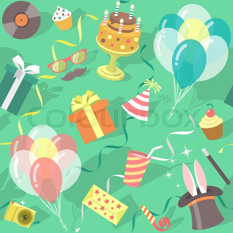 Cute Wallpapers Friends Girls Modern Flat Vector Seamless Birthday Party Pattern With