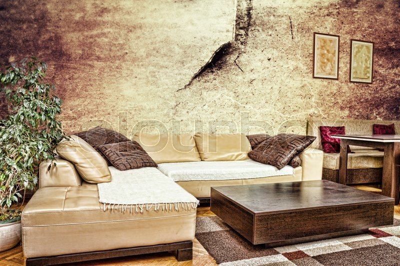 Grunge living room or interior with dirty design with sofa