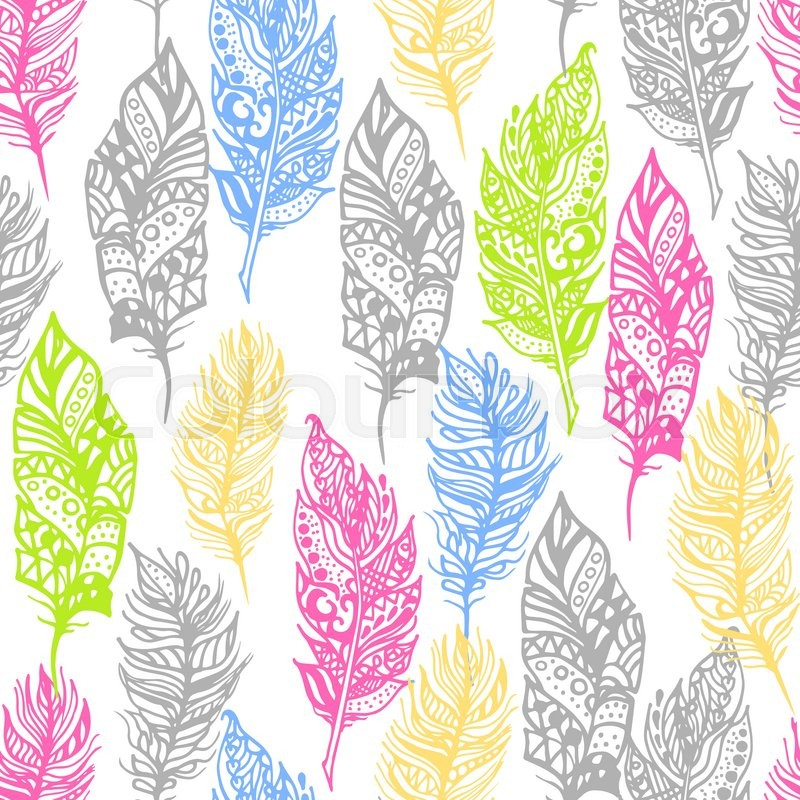 Free Fall Cell Phone Wallpapers Hand Drawn Vector Zentangle Doodle Neon Colors Feathers