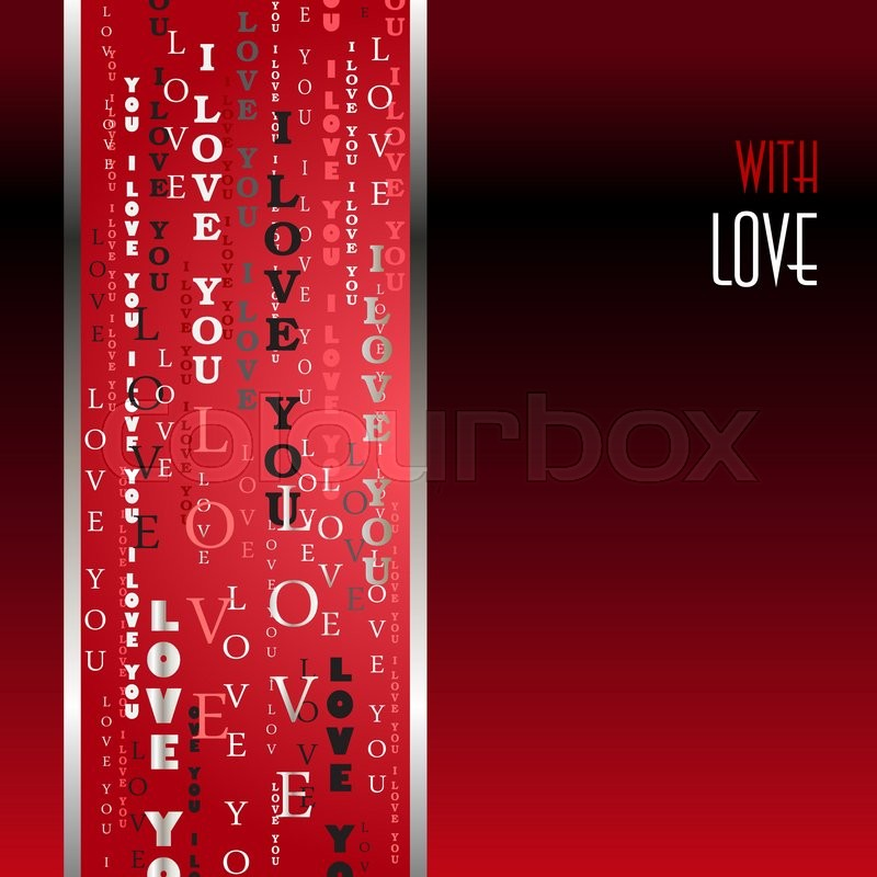 Love card Valentines card template Gold vertical I love you words