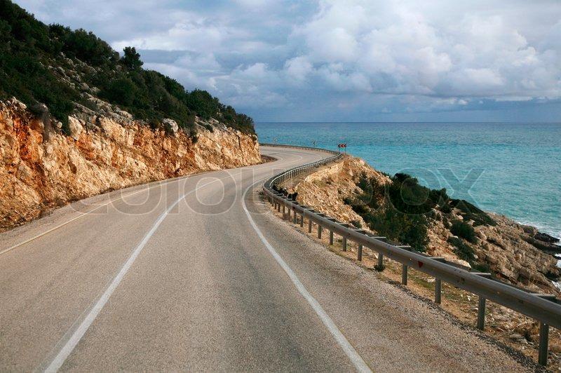 Car Curvy Road Wallpaper Winding Mountain Road Near The Sea Side Stock Photo